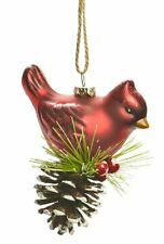 Glass Cardinal Perched on Pinecone Hanging Christmas Tree Ornament Red Glitter