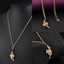 Fashion Gold Plated Crystal Angel Fairy Necklace Pendant Sweater Chain Jewelry