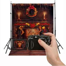 5x7FT Vinyl Christmas Fireplace Backdrop Studio Props Photography Background