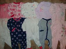 A BABY GIRL LOT SLEEPERS PAJAMAS FLEECE CARTERS 6 9 MONTHS BLANKET PINK WINTER