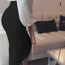 New Sexy Women Knit High Waist Knee Length Straight Pencil Skirt Career Dress