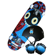 "28"" Kids Monster Skateboard Set - Board,Knee-Elbow Pads,Helmet (Free Backpack)"