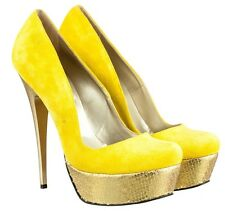 MORI ITALY PLATFORM HIGH HEEL PUMPS SCHUHE SHOES KROCO LEATHER YELLOW GIALLO 44
