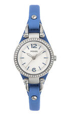 Fossil Women's ES3474 Georgia Crystal Accent Blue Leather Watch