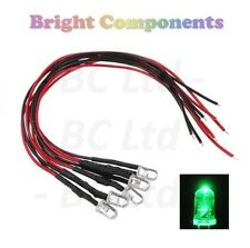 5x Flashing Pre-Wired Green LED 5mm Ultra Bright : 9V ~ 12V : 1st CLASS POST