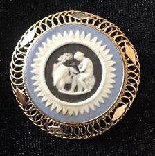 Vintage Wedgwood C68 14K Gold Pin / Brooch / Pendant Blue Jasperware
