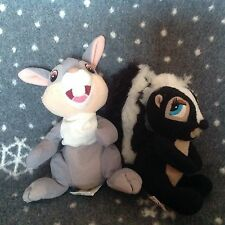 "DISNEYSTORE  BAMBI THUMPER 7"" and RARE 6"" FLOWER Skunk Soft Plush Toys"