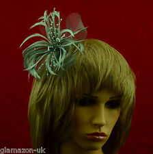 Fascinator Silver Grey Net Ribbon and Feather Weddings Ladies Day Races Proms UK