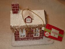 "Glittery Snowy Brick Cottage House Christmas Ornament Jo-Anns 3.75"" x 3"" NEW WT"
