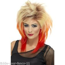 Women's 80's Mullet Wig Blonde Hen Disco Fun Fancy Dress Punk Rock Fun 70's Girl