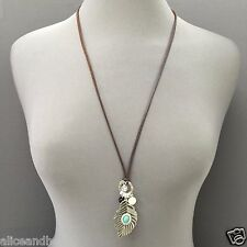 Long Brown Leather Antique Silver Finish Turquoise Pearl Leaf Pendant Necklace