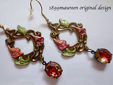 Art Nouveau Art Deco earrings 1920s vintage style green peach handpainted