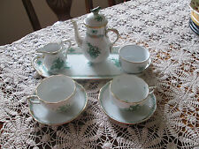 Herend Green Chinese Bouquet CUTE.Coffee set for 2( bird tail has a small chip)