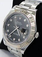 ROLEX DATEJUST II 116334 41mm DIAMOND DIAL 18K WHITE GOLD FLUTED BEZEL *MINT*
