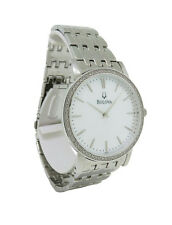 Bulova 96E110 Men's Round Mother of Pearl Analog Diamond Stainless Steel Watch