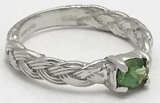 Genuine 0.43 Carats ALEXANDRITE Rope Style RING 10k White Gold *FREE APPRAISAL