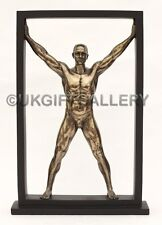 Semi Naked Muscular Male Sculpture in Cold Cast Bronze By Veronese NEW 34C Tall