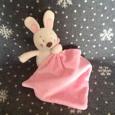 MARKS & SPENCERS White Pink Bunny Velour Baby Blanket Comforter Soft Plush Toy
