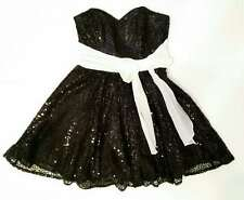BETSEY JOHNSON Evening Sz 4 Black Strapless Sequin Party Prom Cocktail Dress