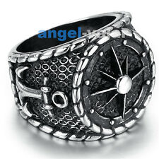 Mens Viking Stainless Steel Ring Anchor Nautical Compass Ferris wheel Style Punk
