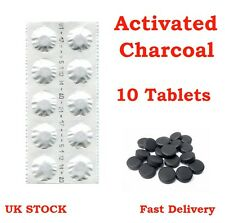 10 Activated Charcoal Tablets 250mg - Detox, Digestion Aid, Heartburn, Wind