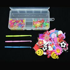 Kids Charms Pendant+100 C-Clips+100 S-Clips+Hook+Box Kit Rubber Bands Craft - LD