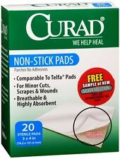 Curad Non-Stick Pads 3 Inches X 4 Inches 20 Each