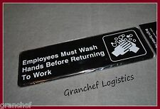 Employees Must Wash Hands Signs ~ 2 pieces ~ Easy Adhesive Hanging ~ New In Pkgs