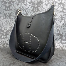 Rise-on Vintage HERMES Evelyne GM Black Leather Cross Body Shoulder bag #69