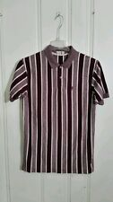 MR PEANUT POLO MEDIUM MAROON AND WHITE STRIPED SHORT SLEEVE EMBROIDERED MR PEAN