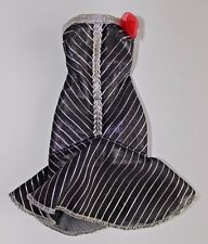 Barbie doll black dress silver stripes strapless red flower fancy formal dress