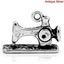 6 Pc Charm Pendants Sewing Machine Antique Silver 19x14mm LC3299