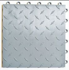 SILVER Garage Floor Tiles -  Made In USA - FREE SHIPPING - Diamond plate