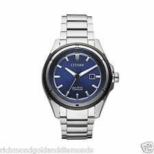 Citizen AW1450-89L Men's Eco Drive TI+IP Super Titanium Blue Dial Analog Watch