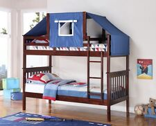 Bunk Bed Tent Kit - Blue, Cappuccino Finish