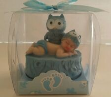 BLUE OWL BABY SHOWER BIRTHDAY CAKE TOPPER DECORATION FAVOR FIGURINE