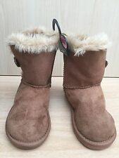 New Primark Atmosphere Girls Suede Feel Wool Brown Tan Winter Boots Size 9 E 27