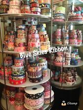 100 yard grosgrain ribbon lot - 50 us designer, 50 cartoon/patterns grab bag mix