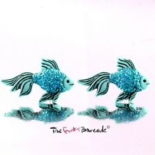 FUNKY FISH STUD EARRINGS GIRLS QUIRKY GLITTER RETRO KITSCH CUTE GIFT ANIMAL WILD