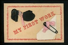 """Novelty Vintage postcard Metal Add-On safety pin """"My First Work"""" paper"""