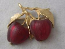 RARE VINTAGE NAPIER  RED MOLDED FROSTED GLASS DOUBLE APPLE FRUIT PIN W/ LEAVES