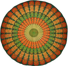 "Sanganeer Print Round Cotton Tablecloth 72"" Green"