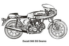 1980 DUCATI 900SS DESMO VINTAGE MOTORCYCLE POSTER ART 24x36 HI RES