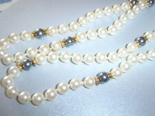 Vintage Cultured ? Pearl Cream Grey Strand String Deco Necklace Individ Knotted