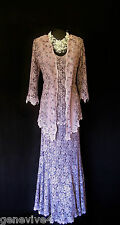 ANN BALON Pink Lilac Lace Wedding Outfit Size 14 16 Mother of the Bride Designer