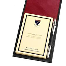 Aspinal of London Pocket Memo Pad in Smooth Black & Red Suede Initials GMH