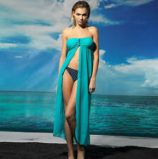 Aqua Strapless U Buckle Kaftan Sheer Cape Summer Beachwear Dress XS S 4 6 8