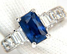 █$9500 GIA NO HEAT 2.80CT NATURAL BLUE SAPPHIRE DIAMONDS RINGS 18KT UNHEATED A+