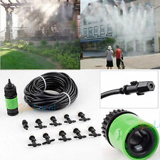 10m Garden Plants Irrigation Patio Misting Hose 10 Mister Nozzles Cooling System