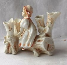 C19TH SITZENDORF POSY VASE WITH LADY SEATED ON A LOG